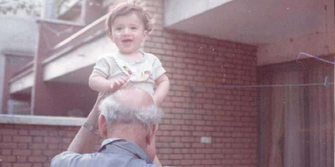 Tehran 1986 | Yashar and Grandpa in the backyard