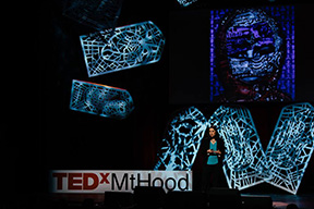 Portland Story Theaters Urban Teller and artist Sabina Haque speaks at TEDxMtHood. Photo by Alex McKissack